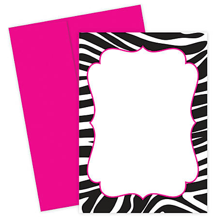 "Great Papers! Flat Card Invitation, 5 1/2"" x 7 3/4"", 127 Lb, Zebra, Black/White, Pack Of 20"