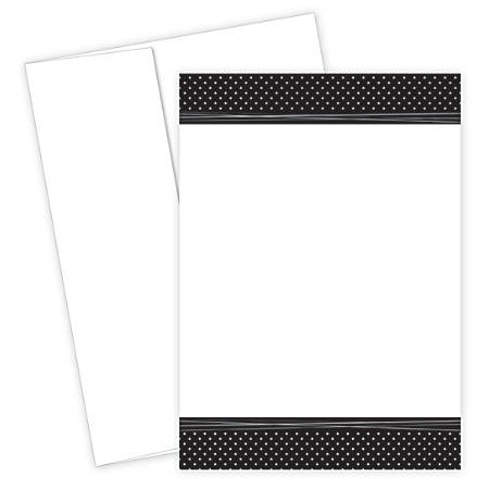 "Great Papers! Flat Card Invitation, 5 1/2"" x 7 3/4"", 127 Lb, Delightful Dots, Black/White, Pack Of 20"