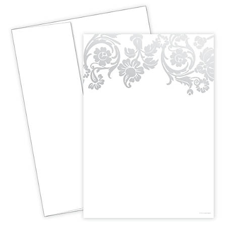 "Great Papers! Flat Card Invitation, 5 1/2"" x 7 3/4"", 127 Lb, Foil Damask, Silver/White, Pack Of 20"