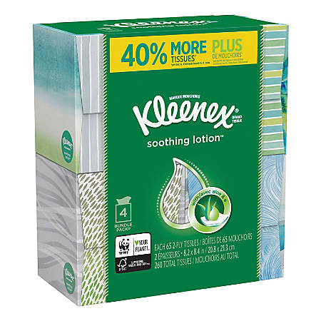 Kleenex® Soothing Lotion 2-Ply Facial Tissues, White, 65 Sheets Per Box, Carton Of 4 Boxes