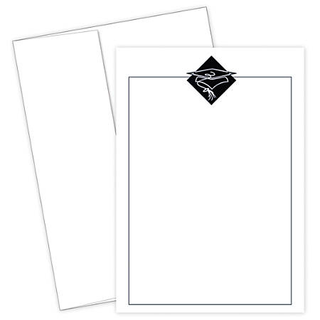 "Great Papers! Graduation Invitation Kit, 5 1/2"" x 7 3/4"", Grad Hat, Black/White, Pack Of 20"
