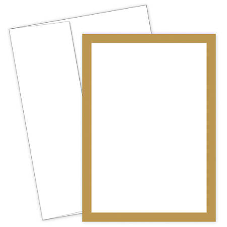 """Great Papers! Flat Card Invitation, 5 1/2"""" x 7 3/4"""", 127 Lb, Metallic, Gold/White, Pack Of 20"""