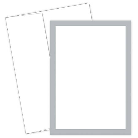 """Great Papers! Flat Card Invitation, 5 1/2"""" x 7 3/4"""", 127 Lb, Metallic, Silver/White, Pack Of 20"""