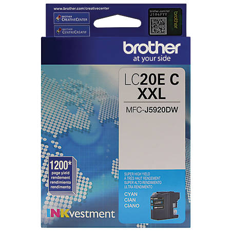 Brother® INKvestment LC20EC Extra High Yield Cyan Ink Cartridge