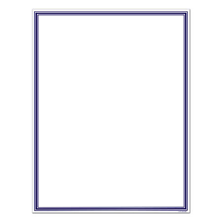 """Great Papers! Design Paper, Navy Border, 8 1/2"""" x 11"""", 50 Lb, Navy/White, Pack Of 80"""