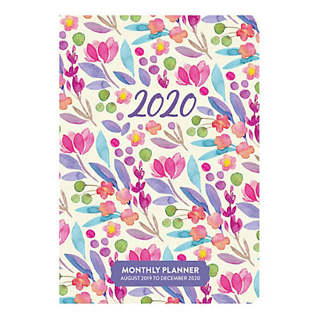 """Orange Circle Studio™ 17-Month Academic Monthly Pocket Planners, 6-1/2"""" x 4-1/2"""", Bold Blossoms, August 2019 to December 2020"""