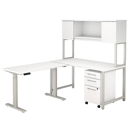 """Bush Business Furniture 400 Series 60""""W L Shaped Desk with Height Adjustable Return, Hutch and Storage, White, Premium Installation"""
