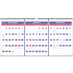 at a glance 3 month wall calendar 23 12 x 12 30percent recycled