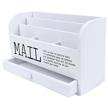 Juvale 3 Tier Wooden Mail Desktop Organizer Sorter With Storage Drawer - For Office And Home - Keep Mail, Letters, Files, Office Supplies Neat Organized - White - 11 Inches.