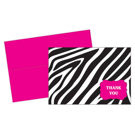 """Great Papers! Thank You Cards, 4 7/8"""" x 3 3/8"""", Zebra, Black/White, Pack Of 20"""