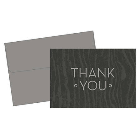 """Great Papers! Thank You Cards, 4 7/8"""" x 3 3/8"""", Wood Grain, Gray, Pack Of 20"""