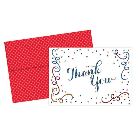 "Great Papers! Thank You Cards, 4 7/8"" x 3 3/8"", Party Elements, Multicolor, Pack Of 20"