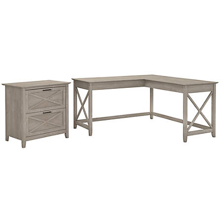 """Bush Furniture Key West 60""""W L Shaped Desk with Lateral File Cabinet, Washed Gray, Standard Delivery"""