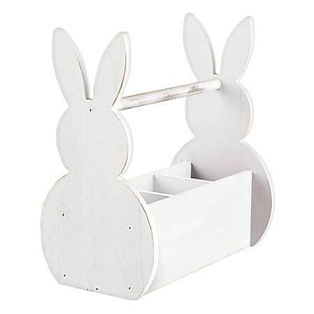 """Amscan Easter Bunny Utensil Holder, 12""""H x 11""""W x 6-1/2""""D, White"""