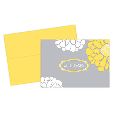 """Great Papers! Thank You Cards, 4 7/8"""" x 3 3/8"""", Sunny Flowers, Gray/Yellow, Pack Of 24"""