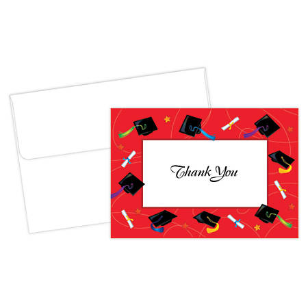 """Great Papers!® Thank You Cards For Graduation, 4 7/8"""" x 3 3/8"""", Red/White, Pack Of 24"""