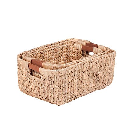 Honey-Can-Do Water Hyacinth Baskets, Rectangular, Natural/Brown, Pack Of 3