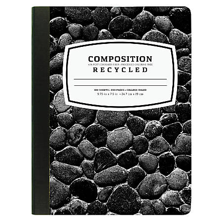 "New Leaf® 40% Recycled Fashion Composition Book, 7 1/2"" x 9 3/4"", College Ruled, 100 Sheets, Black"