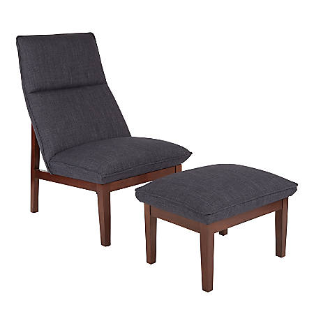 Ave Six Cameron Chair And Ottoman, Navy/Coffee