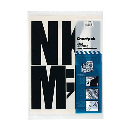 "Chartpak Press-On Vinyl Letters And Numbers, 6"", Black, Pack Of 38"