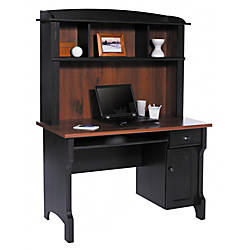 Image result for Realspace Shore Mini Solutions Computer Desk With Hutch, Antique Black