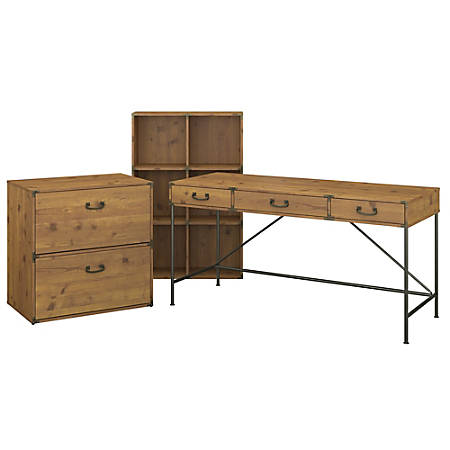"""kathy ireland® Home by Bush Furniture Ironworks 60""""W Writing Desk with 6 Cube Organizer and Lateral File Cabinet, Vintage Golden Pine, Standard Delivery"""