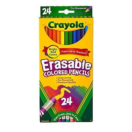 Crayola® Erasable Colored Pencils, Assorted Colors, Pack Of 24 Colored Pencils
