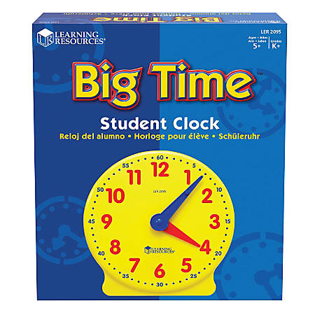 "Learning Resources® Big Time™ 12-Hour Student Learning Clock, 5"" x 5"", Grades Pre-K - 8"