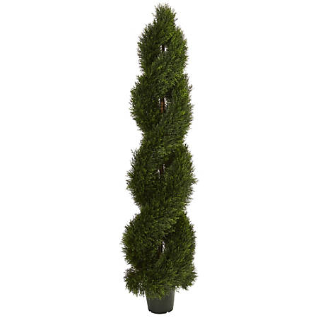 Nearly Natural 6'H Double-Pond Cypress Spiral Topiary With Pot, Green