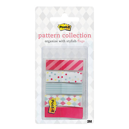 "Post-it® Candy Carnival Collection Patterned Flags, 1/2"" x 1 11/16"", Assorted Colors, 25 Flags Per Pad, Pack Of 4 Pads"