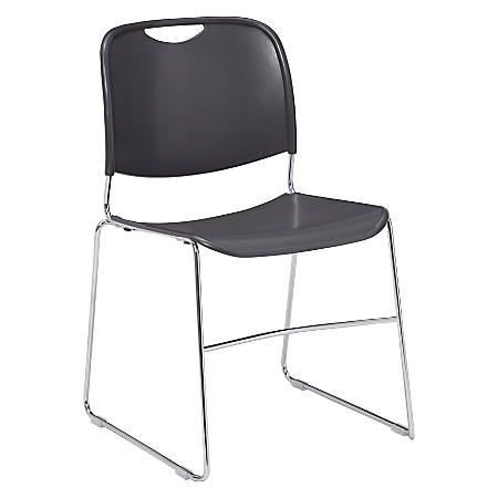 National Public Seating 8500 Ultra-Compact Stack Chair, Gunmetal/Chrome