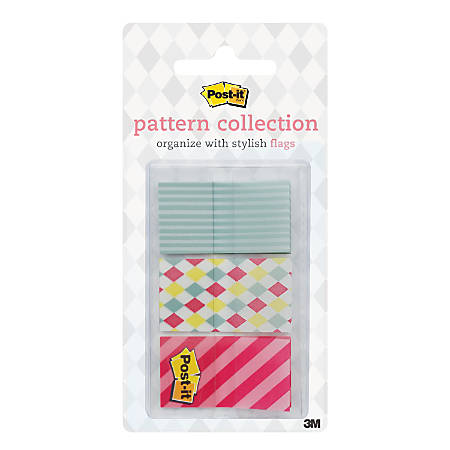 "Post-it® Candy Carnival Collection Patterned Flags, 15/16"" x 1 11/16"", Assorted Colors, 20 Flags Per Pad, Pack Of 3 Pads"