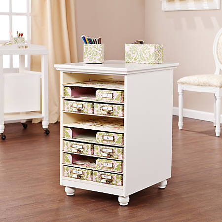 Anna Griffin Home Office Paper Bin Storage Organizer, 8 Shelves, Antique White/Warm Cream