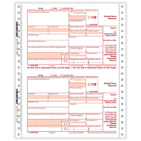 "ComplyRight™ 1099-OID Tax Forms, Continuous, Copies A, State, B And C, 4-Part, 9"" x 11"", Pack Of 100 Forms"