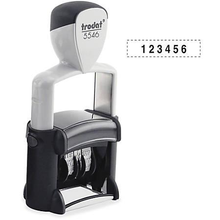 """Trodat Professional Numberer - Number Stamp - 0.38"""" Impression Width x 1.63"""" Impression Length - 6 Bands - Black - 1 Each"""