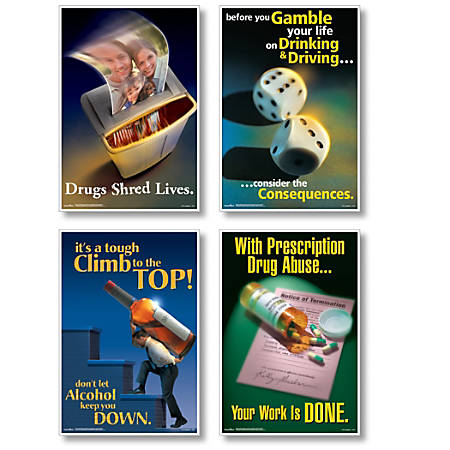 """ComplyRight Substance Abuse Posters, English, 15"""" x 22"""", Set Of 4"""