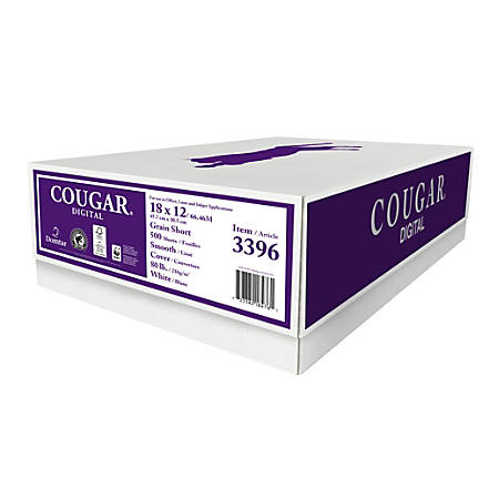 """Cougar® Digital Printing Paper, 18"""" x 12"""", 98 Brightness, 80 Lb Cover (216 gsm), FSC® Certified, White, Case Of 500 Sheets"""