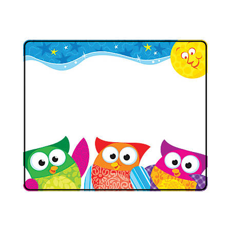 """TREND Name Tags, 3"""" x 2 1/2"""", Owl-Stars!™, 36 Tags Per Pack, Set Of 6 Packs"""