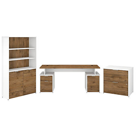 "Bush Business Furniture Jamestown 72""W Desk With Storage, File Cabinets And 5-Shelf Bookcase, Fresh Walnut/White, Premium Installation"