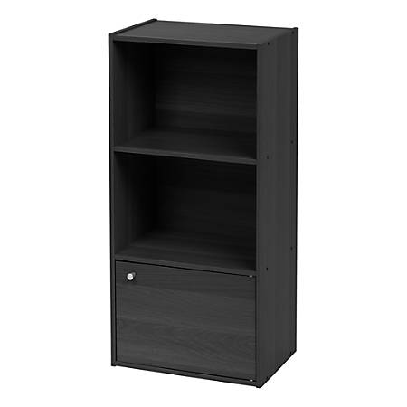 "IRIS 35""H 3-Tier Storage Shelf With Door, Black"