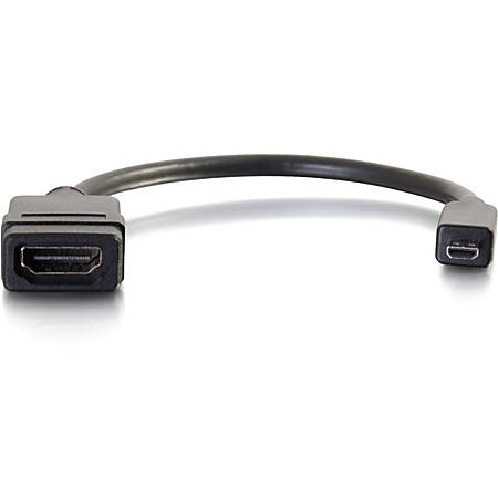 C2G 8in Micro HDMI to HDMI Adapter - Micro HDMI Adapter - Male to Female Black