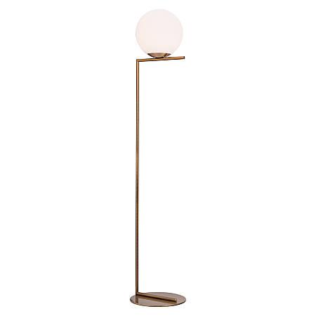 """Zuo Modern Belair Floor Lamp, 61""""H, Brass Shade/Brass Base"""