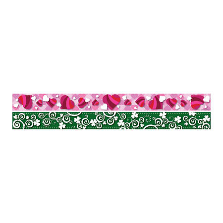 "Barker Creek Double-Sided Straight-Edge Border Strips, 3"" x 35"", Heart/Clover, Pack Of 12"
