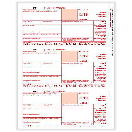 """ComplyRight™ 1098-E Laser Tax Forms, Federal Copy A, 8-1/2"""" x 11"""", Pack Of 50 Forms"""