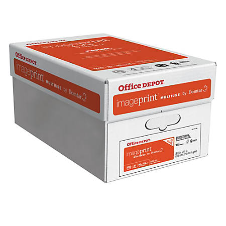 "Office Depot® ImagePrint® Multi-Use Paper by Domtar, Letter Size (8 1/2"" x 11""), 98 (U.S.) Brightness, 20 Lb, FSC® Certified, Ream Of 500 Sheets, Case Of 10 Reams"