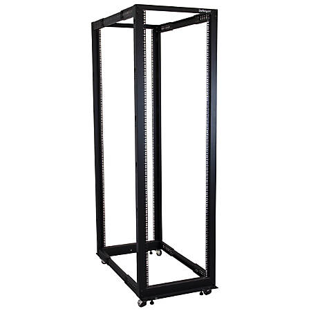 StarTech.com 42U Adjustable Depth Open Frame 4 Post Server Rack Cabinet - Flat Pack w/ Casters, Levelers and Cable Management Hooks - Store your servers, network and telecommunications equipment in this adjustable 42U rack - Compatible with HP KVM IP