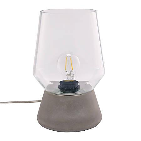 "Southern Enterprises Mayes LED Table Lamp, 6-1/2""H, Clear Shade/Gray Base"