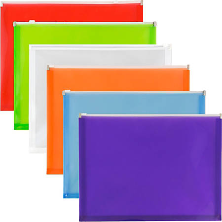 "JAM Paper® Plastic Envelopes With Zipper Closures, 9-3/4"" x 13"", Assorted Colors, Pack Of 6 Envelopes"