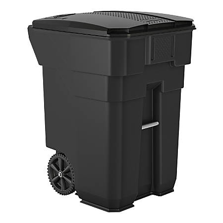 """Suncast Commercial Wheeled Square HDPE Trash Can, 96 Gallons, 43-1/2""""H x 30-1/4""""W x 35""""D, Gray"""