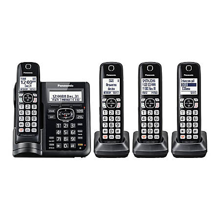 Panasonic® DECT 6.0 Cordless Telephone With Answering Machine And Dual Keypad, 4 Handsets, KX-TGF544B